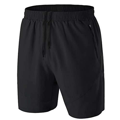 Herren Sport Shorts Kurze Hose Schnell Trocknend Sporthose Leicht mit Reißverschlusstasche(Schwarz,L)