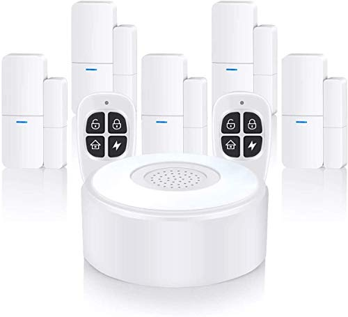 Wireless Alarm System, Smart Home Alarm Security 8-piece kit (Alarm Station and Door sensors), APP...