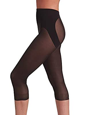 Naomi and Nicole Women's Sexy and Sheer Capri Pantliner Shapewear, Black, X-Large/1X