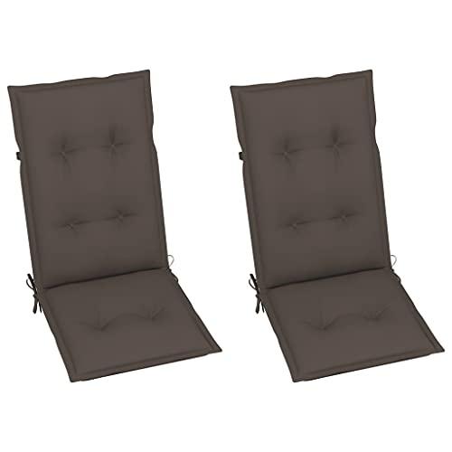 vidaXL 2X Gartenstuhl Auflage für Hochlehner Kissen Sitzkissen Stuhlkissen Polster Stuhlauflage Sitzauflagen Sitzpolster Taupe 120x50x7cm