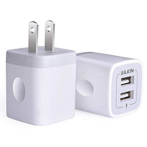 USB Wall Charger, Charger Adapter, Ailkin 2 Pack 2.1Amp Dual Port Quick Charger Plug Cube Replacement for iPhone 76S6S Plus6 Plus65S5, Samsung