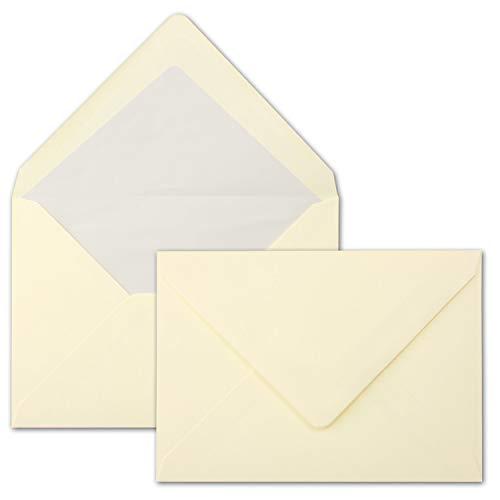 50 Brief-Umschläge Creme - DIN C5 - gefüttert - 90 g/m² - 16,2 x 22,9 cm - Nassklebung mit spitzer Klappe - hochwertige Kuverts - von Gustav NEUSER