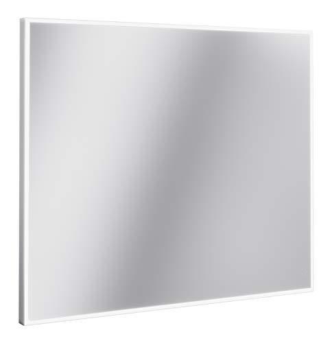 Lanzet LED Spiegel LZ150 / Wandspiegel mit LED-Beleuchtung/Maße (B x H x T): ca. 80 x 68 x 3,5 cm/dimmbarer Badspiegel mit Sensorschalter/Aluminium Rahmen/waagrecht + senkrecht nutzbar