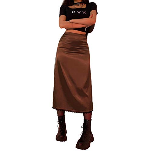 Boho Midi Skirts for Women Printed High Waist A Line Plaid Skirt Long Maxi Pencil Skirt Slim Bodycon Streetwear Y2k Skirt (Style A Brown, Small)