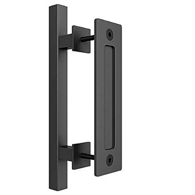 "SMARTSTANDARD 10"" Heavy Duty Sliding Barn Door Handle, Pull and Flush Set for Gate Kitchen Furniture Cabinet Closet Drawer, Black, Square"