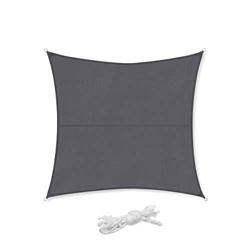 Sekey Toldo Vela de Sombra Cuadrada PES Impermeable Protección Rayos UV, Resistente para Patio, Exteriores, Jardín,con Cuerda Antracita 4×4m