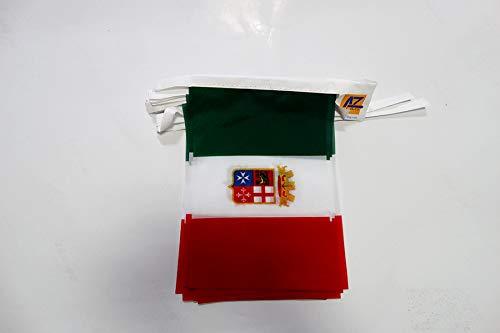 AZ FLAG Guirnalda 6 Metros 20 Banderas de Italia Marina Militar 21x15cm - Bandera Italiana MARITIMA 15 x 21 cm - BANDERINES