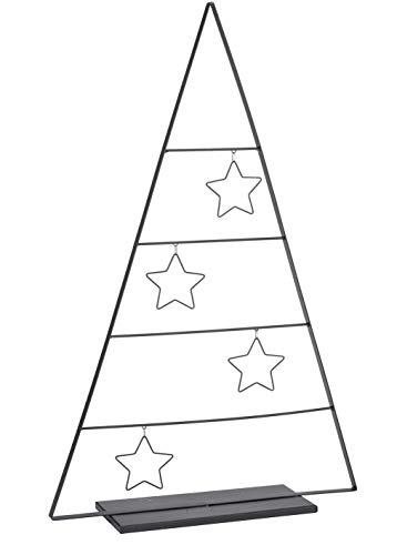 Metall Deko Tannenbaum mit Sternen schwarz - 69,5 cm - Weihnachtsdeko Tischdeko Weihnachtsbaum Tanne