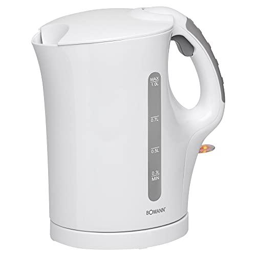 Kabelloser Wasserkocher 1 Liter Kabellos 900 Watt Weiß Kalkfilter (Wasserstandsanzeige, Überhitzungsschutz, Automatische Abschaltung, Sicherheitsklappdeckel)