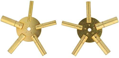 Harts Set von 2 Uhren-Aufziehschlüsseln aus Messing, Spider Star Pair – Odd and Even