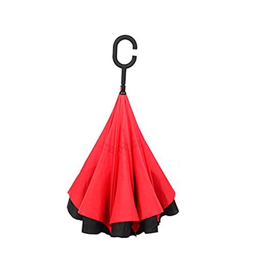 Mrjg Estilo Gratis Creativo langoste Largo langoste Doble Capa inversa Paraguas Lluvia Mujer Hombre a Prueba de Viento C-Gancho Masculino Coche Paraguas invertidas (Color : 2)