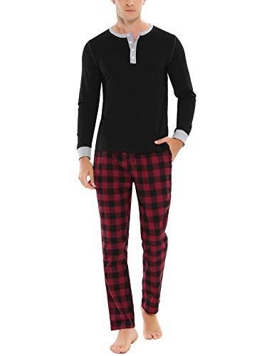 Doaraha Pijama Hombre Invierno Manga Larga Algodón Pijamas Camiseta y Pantalones Cuadros Celosía Ropa de Dormir Cuello Abotonado Suave Cómodo 2 Piezas (A# Negro - Manga Larga, XXL)