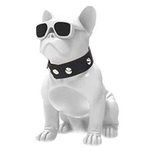 ZHIPENG Altavoz Bluetooth Bulldog, Altavoz De Cabeza De Perro Giratorio Inteligente De Cuerpo Completo Grande Radio FM Portátil Pantalla De Coche Subwoofer (Sonido De Alta Fidelidad),Blanco,L