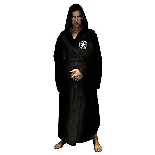 Mâle Hiver Flanelle Robe avec Capuche mâle épais Star Wars Robe de Chambre Jedi Empire Hommes Peignoir Longue Robe Hommes Peignoir de Bain Noir M