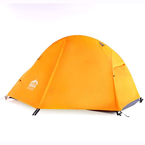 1 Person Lightweight Backpacking Tent with Stakes & Guys 3-4 Season Free Standing Camping Hiking Waterproof Backpack Tent