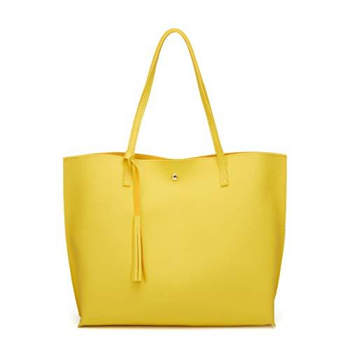 Women's Soft Faux Leather Tote Shoulder Bag from Dreubea, Big Capacity Tassel Handbag Yellow