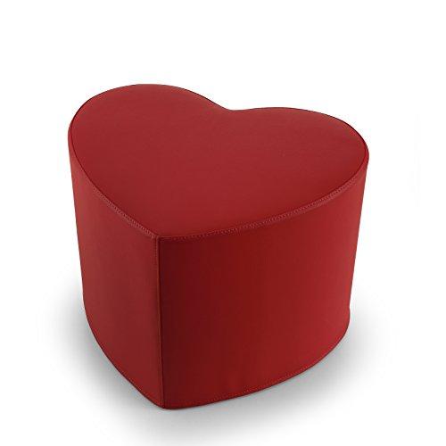EXTOITALY Coeur Rouge Pouf en Cuir synthétique Adapté à séance mis.50 x 41 h.41 cm. Déhoussable Disponible en 10 Couleurs intérieur en polyuréthaneNome articolo (Titolo)