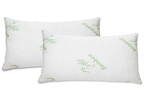 All American Collection Soft Home Bedroom Premium Hotel Quality 2pc Bamboo Pillow Shredded Memory Foam for Sleeping (Queen, White)