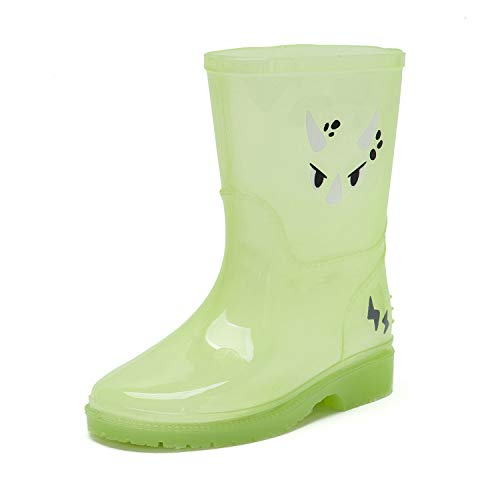 DKSUKO Kids Wellies Mid Calf Wellington Boots Toddler Waterproof Rain Boots for Girls Boys (7.5 UK, Green)