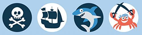 lovely label Bordüre selbstklebend Piraten BLAU/ORANGE - Wandbordüre Kinderzimmer/Babyzimmer mit Pirat-Motiven – Wandtattoo Schlafzimmer Mädchen & Junge – Wanddeko Baby/Kinder
