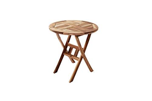 SAM Möbel Outlet Balkontisch Rondo aus Teak Holz | zusammenklappbarer Gartentisch | runder Tisch mit 80 cm Durchmesser | witterungsbeständig und stabil | naturbelassen