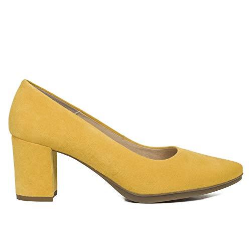Zapato amarillos mostaza de tacón bajo estilo urban