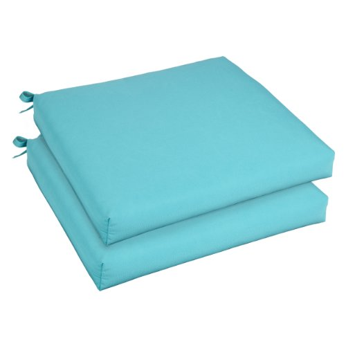 Mozaic AZCS3002 Indoor or Outdoor Sunbrella Square Chair Seat Cushions Set, Set of 2, 20 inches, Canvas Aruba Blue