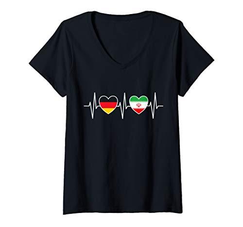 Damen Deutschland und Iran Deutsch Iranisch Fahne Flaggen T-Shirt mit V-Ausschnitt