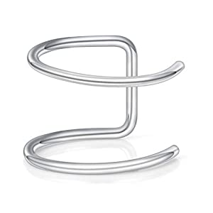 Via Mazzini 316L Stainless Steel No-Tarnish No-Rusting Double Closure No Piercing Nose Ring for Women