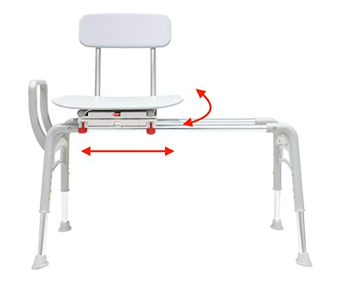 Eagle Health Ergo Swiveling Sliding Bathtub Transfer Bench & Shower Chair Reg. (78668), Safe, Patented, Comfortable, Tool-Less Assembly, Height Adjustable