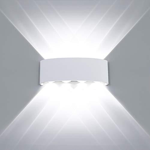 HAWEE Modern Wandlampe LED Wandleuchte Up Down Wasserdicht Aluminium Wandbeleuchtung Innen Außen für Badezimmer Veranda Schlafzimmer Korridor Wohnzimmer Treppen Flur, 8W Weiß