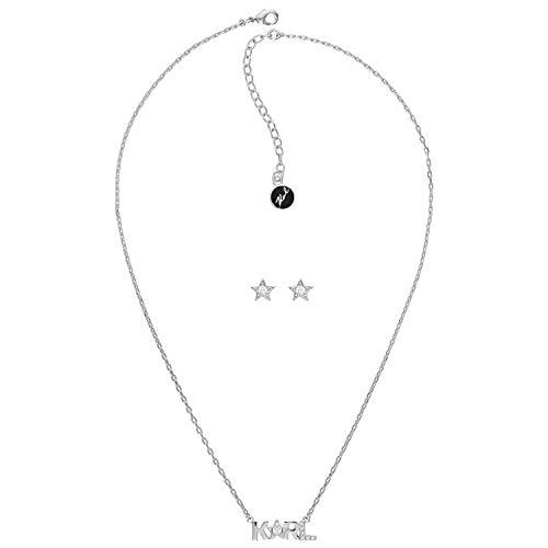 Karl Lagerfeld Damen-SET:COLLIER+ Karl Star Box Set Messing One Size Silber 32012173