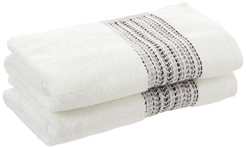 SKL HOME by Saturday Knight Ltd. Geo Stripe Hand Towel Set, White 2 Count