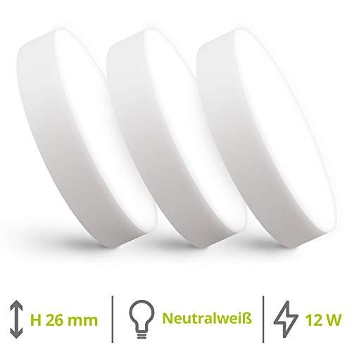 linovum paniled LED Deckenleuchte extra flach 26mm im 3er Set - neutralweißes Licht 12 Watt 230V - 3x rundes LED Aufbau Panel