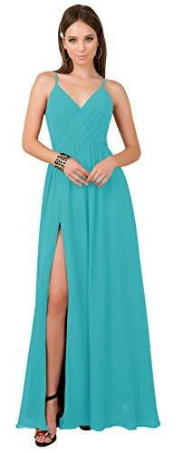 Plus Size A Line V Neck Ruched Chiffon Bridesmaid Dress Long Spaghetti Strap Formal Evening Gown with Split Aqua Blue Custom Size (Apparel)