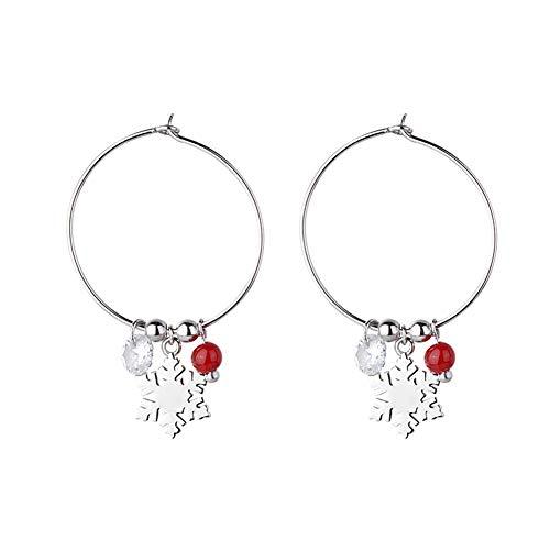 Bestomrogh - Pendientes de aro con diseño de copo de nieve, diseño de bola roja, joyería de día festivo, regalo de Navidad para mujeres y niñas