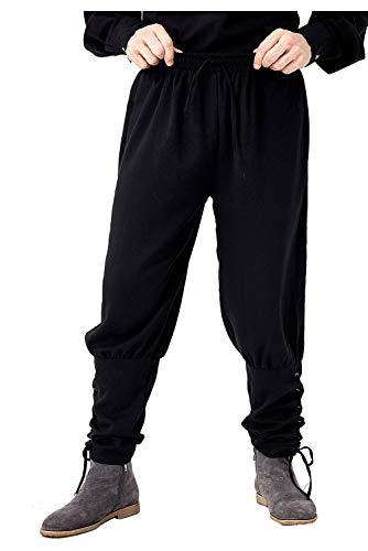 Fuman Mens Medieval Renaissance Pants Pirate Pants Ankle Pants Viking Navigator Trouser Black