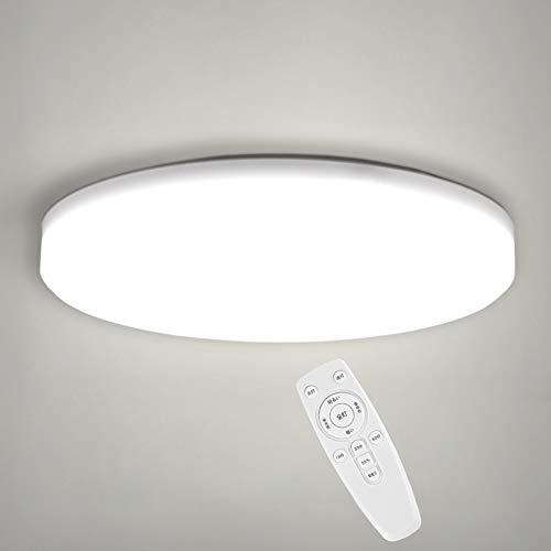 OOWOLF LEDシーリングライト 薄型シーリングライト33W リモコン付き 調光調色節電天井照明 8-12畳 3300LM 2800K-6500K IP20 33CM 玄関/和室/洗面所/台所/廊下/リビング/バスルーム取り付け簡単 工事不要 昼白色-昼光色-電球色 記憶機能 タイマー設定可能 (33)