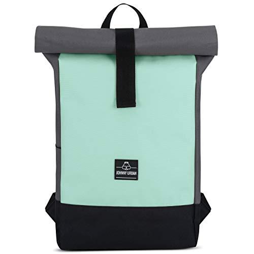 Rolltop Rucksack Damen & Herren Mint - Johnny Urban Ryan Roll Top Backpack aus Recycelten PET-Flaschen - Rucksäcke für Freizeit, Uni & Schule, Wasserabweisend, Flexibel & mit Laptop Fach