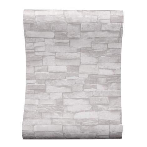jidan Creme Weiß graue Vintage Stone Brick Tapete for Wände Rollen Faux 3D-Bilder for Wohnzimmer Restaurant Non-Woven-Wand-Papier (Color : 1, Dimensions : 10mx53cm)
