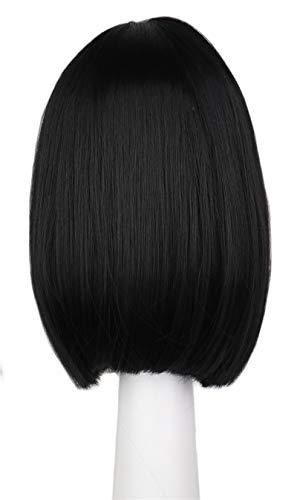 DER Kurze gerade Natrual Perücke Frauen schwarz Dunkelbraun Kunsthaarperücken (Color : Black, Stretched Length : 14inches)