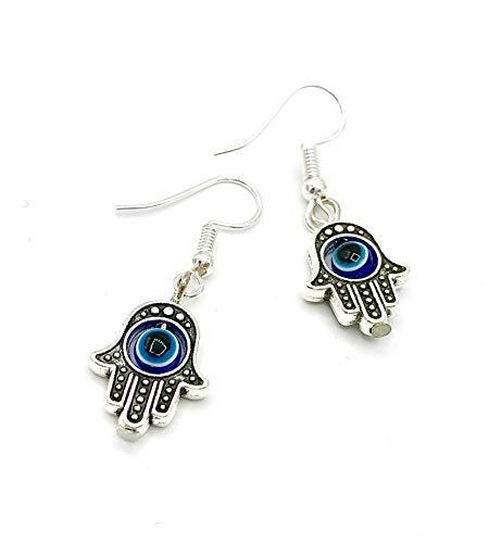 LUCIL® - BLUE EYE HAMSA - Ohrringe Ohrhänger Hängeohrringe Hand der Fatima Khamsa hängend Farbe: silber und blau