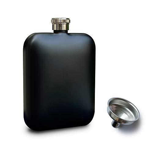 RRIBOUDWAN Petaca para licor con embudo, petaca de acero inoxidable de grado alimenticio para hombres y mujeres | capacidad de 6 onzas (negro)