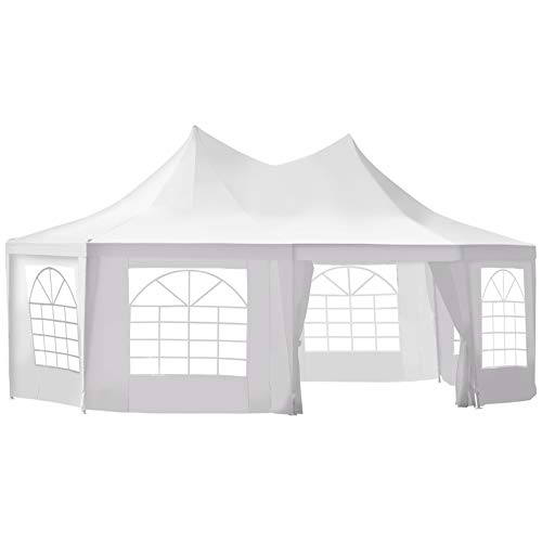 Outsunny 22' x 16' Large UV Resistant Octagonal 8-Wall Party Canopy Gazebo Tent with Removable Side Walls, White
