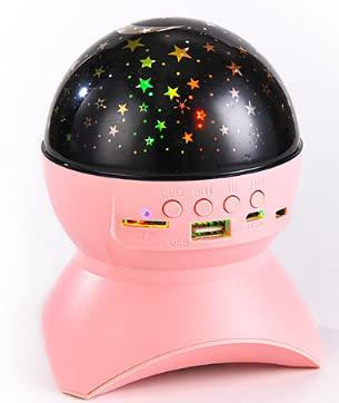 Altavoz Bluetooth inalámbrico portátil con batería Recargable Mini lámpara de proyección de Escenario lámpara Colorida Fiesta en casa subwoofer TF U Disco Rosa