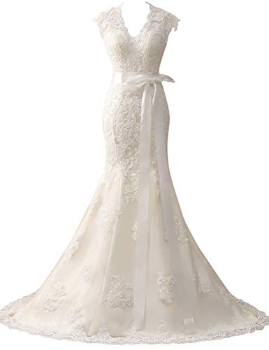 HUINI Brautkleider Vintage Hochzeitskleider Prinzessin Meerjungfrau Lang V-Ausschnitt Spitzen Standesamtkleid Weiß 36