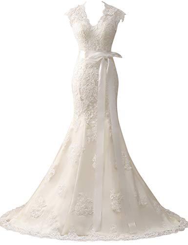 HUINI Brautkleider Vintage Hochzeitskleider Prinzessin Meerjungfrau Lang V-Ausschnitt Spitzen Standesamtkleid Elfenbein 56