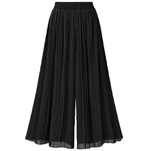 Sommer Damen Elastische Taille Maxi Langer Sommerrock Chiffon Plissee Rock Einfarbiger Chic Fashion Slim Fit Vintage Hosenrock (Color : Schwarz, Size : 4XL)