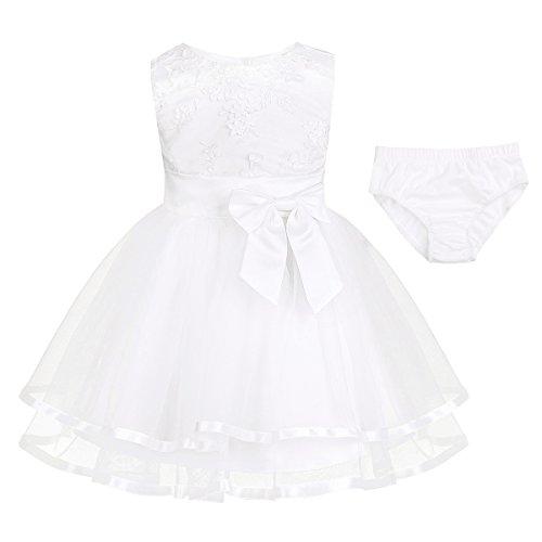 iixpin Babybekleidung Baby-Mädchen Prinzessin Kleid Festzug Taufkleid Hochzeit Partykleid Mädchen Tüll Kleidung Blumenmädchenkleid mit Baumwollhose Weiß 74-80