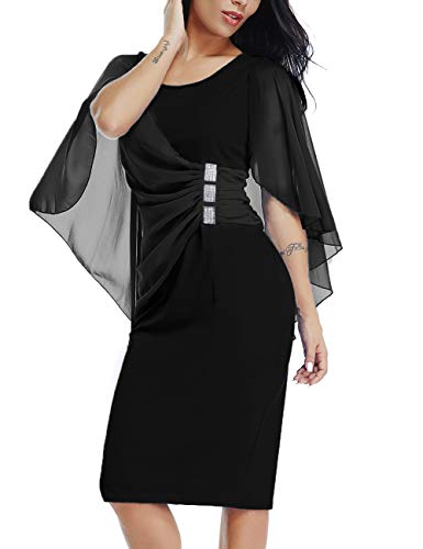 LALAGEN Womens Chiffon Plus Size Ruffle Flattering Cape Sleeve Bodycon Party Pencil Dress Black XL